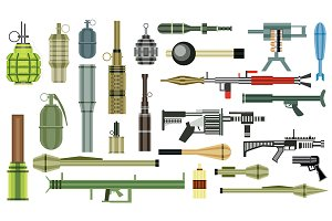 Arms Grenade Set. Military Weapon.