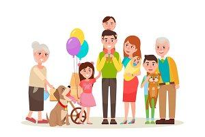 Happy Extended Family Photo Cartoon