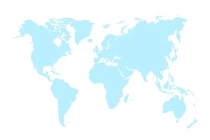 Blue Map of World Vector