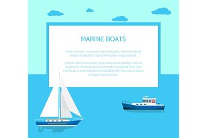 Marine boats Poster with Text and