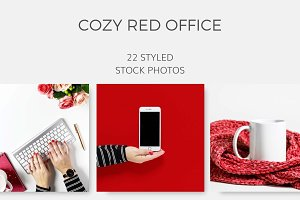Cozy Red Office (22 Images)