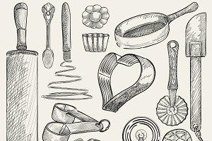 Illustration set of kitchen tools