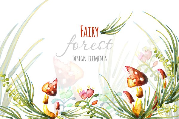 Watercolor fairy forest elements