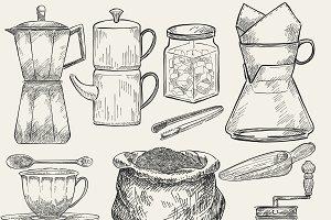 Set of coffee making tools