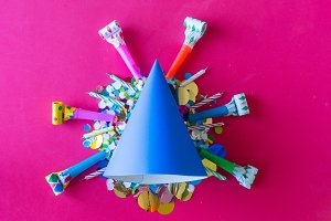 birthday celebration with paper hats