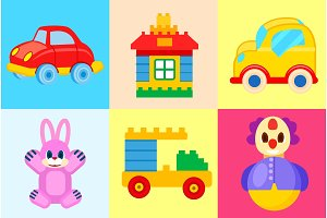Toys Collection Isolated on Colorful