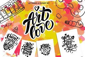 Art love set - clipart & lettering