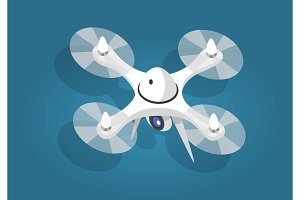 White Flying Quadcopter Flat and