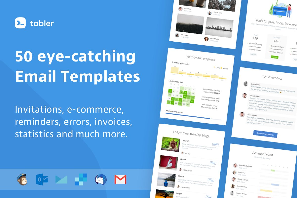 Tabler - 50 HTML Email Templates