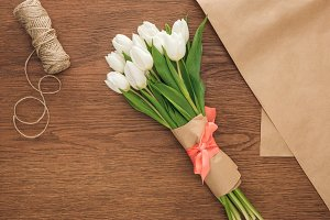 top view of spring tulip bouquet and