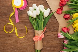 top view of spring bouquet, tulips,
