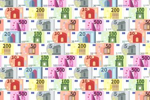 Euro banknotes in a rows pattern