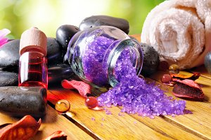 Bath salts and oils in nature