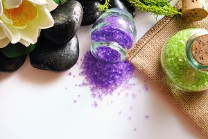 Natural bath salts on table top