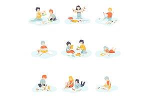 Boys and Girls Sitting on Floor