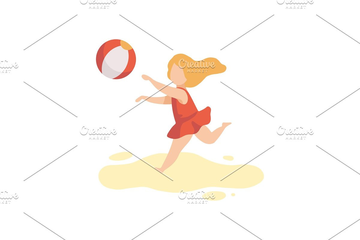 3fa5b39a41 Cute Girl in Swimsuit Playing with ~ Illustrations ~ Creative Market