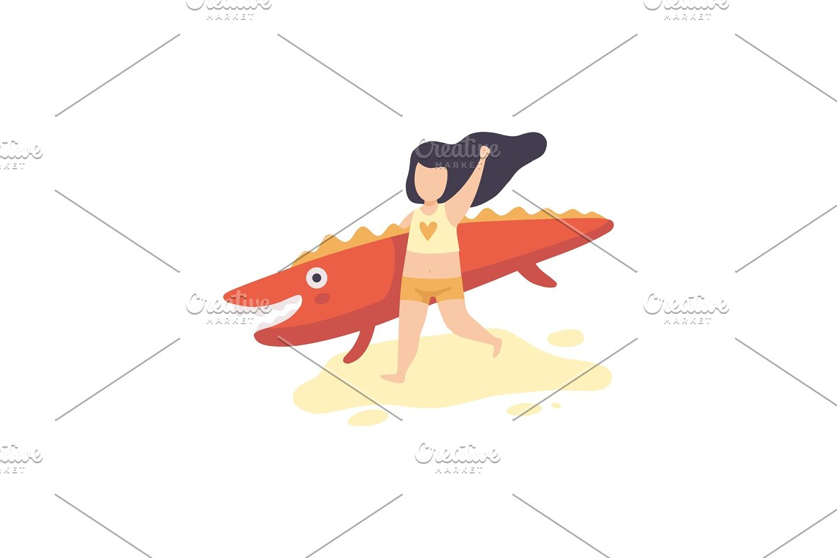 6d5b344a59 Cute Girl in Swimsuit Running with ~ Illustrations ~ Creative Market