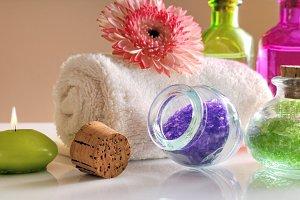 Oils and bath salts close up front