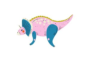 Triceratops Colorful Dinosaur, Cute