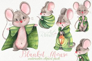Blanket mouse waterolor clipart pack