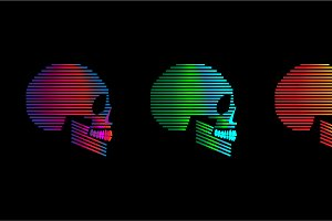 Skull icons duotone neon color backg