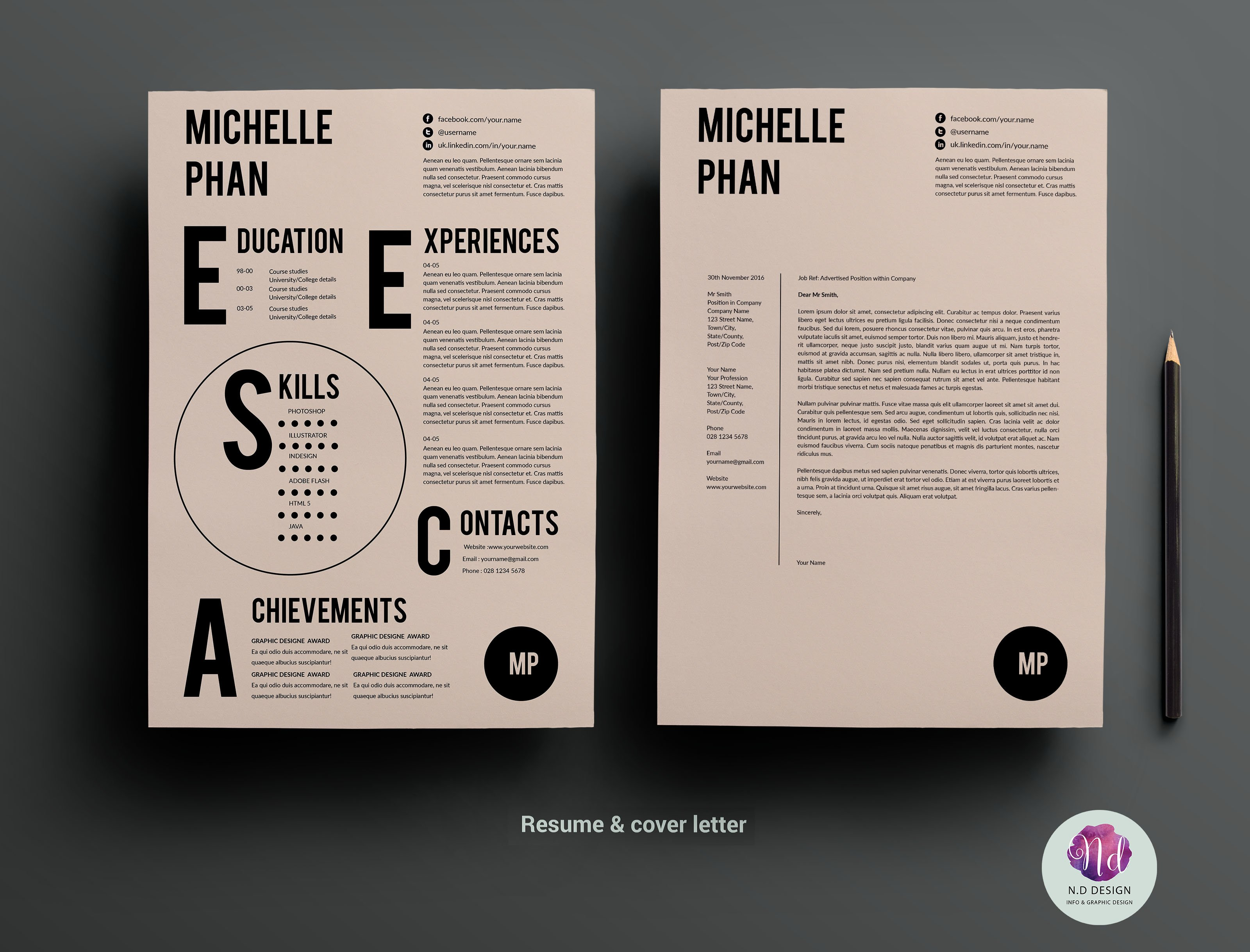 CV Template Cover Letter Templates Creative Market