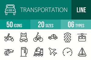 50 Transport Line Icons