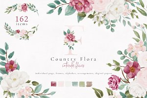 Country Flora - Watercolor Flowers