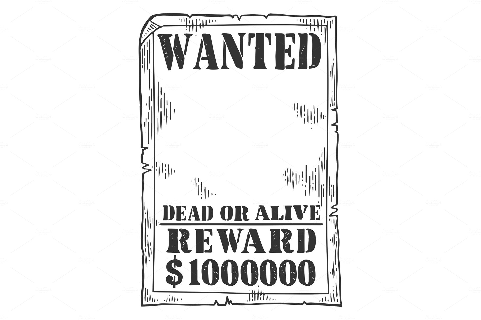 Wanted poster template engraving ~ Illustrations