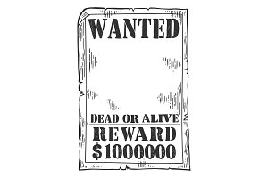 Wanted poster template engraving