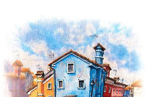 Colorful houses on the Burano