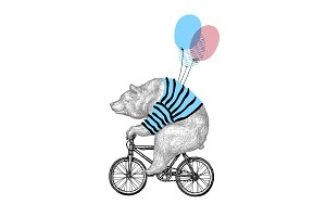 Bear Rides Bicycle with Balloon