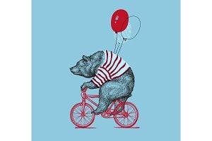 Bear Rides Bike Balloon Grunge Print