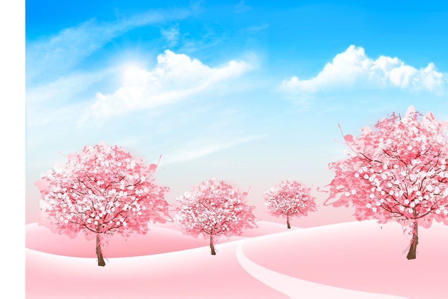 Spring Nature Background With Trees