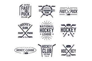 Set of isolated vintage hockey signs