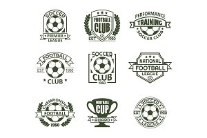 Set of isolated vintage soccer club
