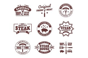 Set of isolated logo for meat