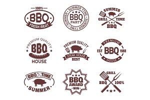 Set of isolated steakhouse signs or