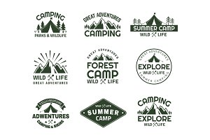 Set of isolated mountain icons for