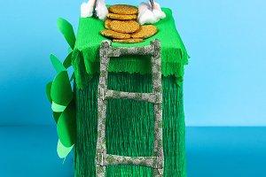 DIY leprechaun trap with gold coins,
