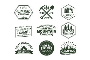 Set of isolated signs with mountains
