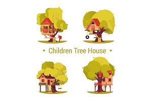 Set of isolated houses for children