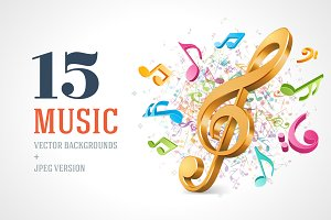 15 Music notes backgrounds set