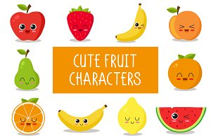 90x cute fruit characters