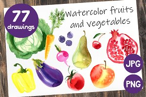 Watercolor fruits and vegetables.
