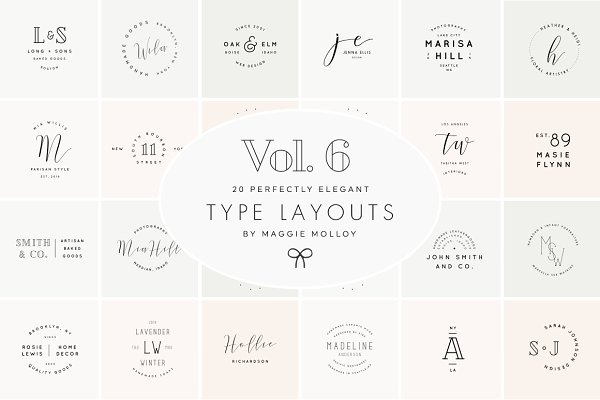 Logo Templates: Maggie Molloy - Type Layouts Vol. 6 Text Based Logos