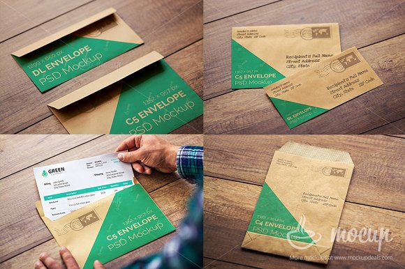 5 PSD Envelope Mockup templates ~ Product Mockups ~ Creative Market