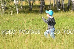Little boy running in the
