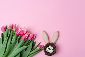 Easter holiday background with small