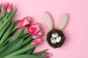 Happy Easter holiday pink background